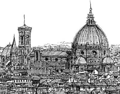 Florence Duomo In Ink  Art Print