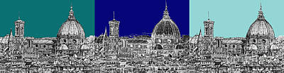 Florence Duomo Triptych Blues Art Print by Adendorff Design