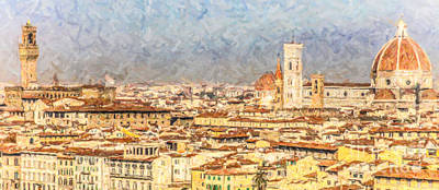 Digital Art - Florence Early Morning by Liz Leyden