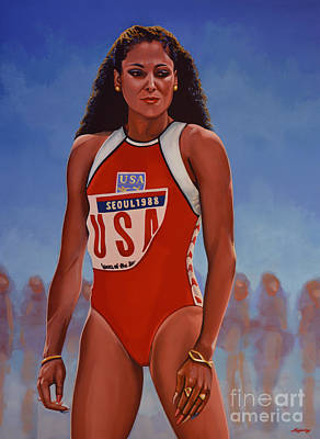 Running Painting - Florence Griffith - Joyner by Paul Meijering