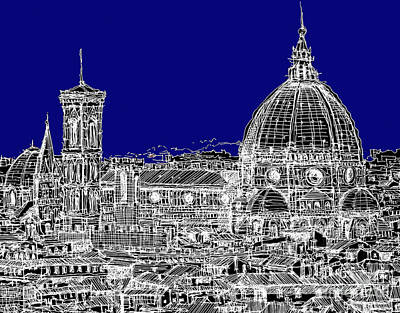 Florence Italy On Blue Art Print by Adendorff Design