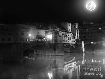 Florence Italy - Ponte Vecchio At Night Art Print by Gregory Dyer