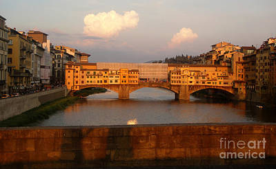 Photograph - Florence Italy - Ponte Vecchio - Sunset - 01 by Gregory Dyer