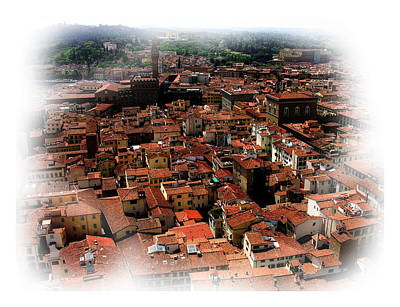 Photograph - Florence Italy Rooftops Vignette by Jacqueline M Lewis
