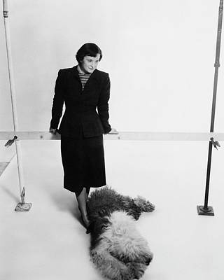 Full Skirt Photograph - Florence Knoll And Her Dog by Herbert Matter