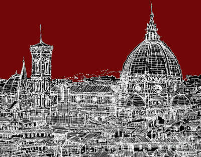 Florence On Red  Art Print by Adendorff Design