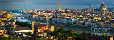 Tuscan Dusk Photograph - Florence Panorama by Inge Johnsson