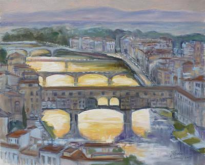 Sunset Painting - Florence - Ponte Vecchio 1 by Irek Szelag