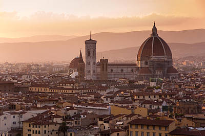 Tuscan Sunset Pastel - Florence Skyline At Sunset by Francesco Emanuele Carucci