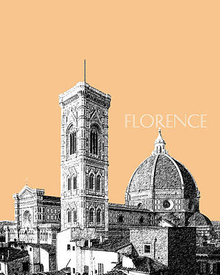 Florence Skyline Cathedral Of Santa Maria Del Fiore 2 - Wheat Art Print by DB Artist