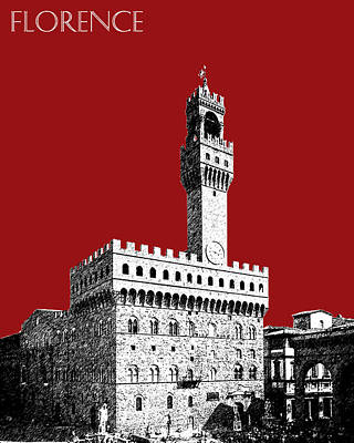 Florence Skyline Palazzo Vecchio - Dark Red Art Print by DB Artist