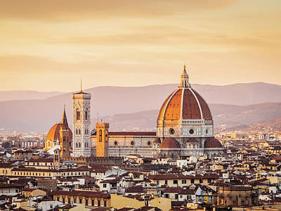 Florences Cathedral And Skyline At Art Print by Filippobacci