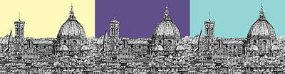 Lilac Drawing - Florence's Duomo In Pastels by Adendorff Design