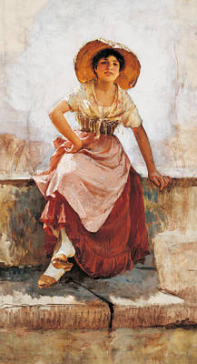 Youthful Painting - Florentine Flower Girl by Frank Duveneck