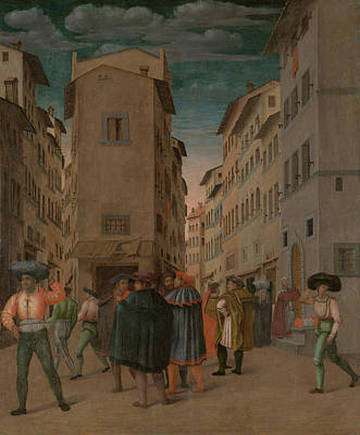 Mercy Drawing - Florentine Street Scene With Twelve Figures Sheltering by Litz Collection