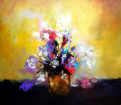 Floral Painting - Florero Cafe by Thelma Zambrano