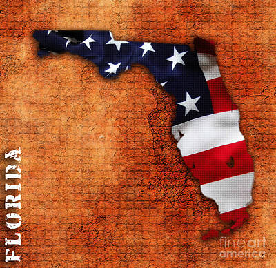 Florida American Flag State Map Art Print