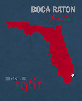 Owl Mixed Media - Florida Atlantic University Owls Boca Raton College Town State Map Poster Series No 037 by Design Turnpike