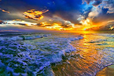 Florida Beach-golden Suntrail Sunset-rolling Sea Waves Art Print