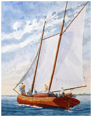Painting - Florida Catboat At Sea by Roger Rockefeller