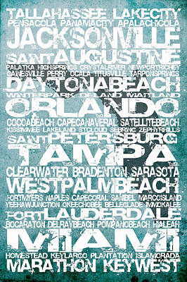 Florida Cities Art Print