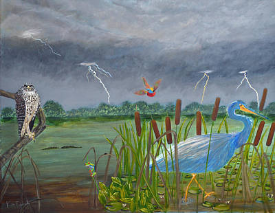 Bug-eyed Red Birds Painting - Florida Everglades Thunderstorm by Ken Figurski