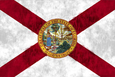 Florida Flag Art Print by World Art Prints And Designs