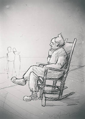 Rocking Chairs Drawing - Florida by H James Hoff