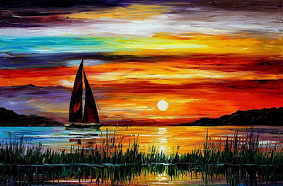 Florida-lake Okeechobee - Palette Knife Oil Painting On Canvas By Leonid Afremov Original by Leonid Afremov