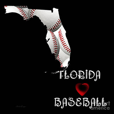 Digital Art - Florida Loves Baseball by Andee Design