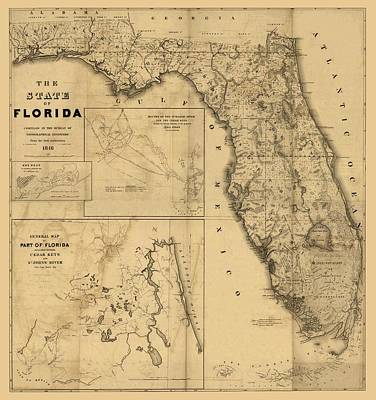 Florida Map Art - Vintage Antique Map Of Florida Art Print by World Art Prints And Designs