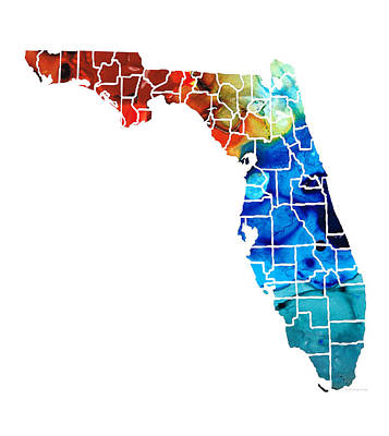 Florida State Painting - Florida - Map By Counties Sharon Cummings Art by Sharon Cummings