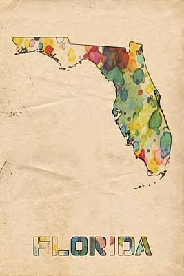 United States Map Painting - Florida Map Vintage Watercolor by Florian Rodarte