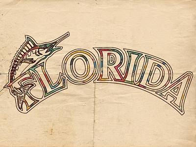 Marlins Painting - Florida Marlins Logo Art by Florian Rodarte