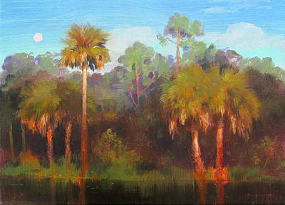 Painting - Florida Moonrise by Keith Gunderson
