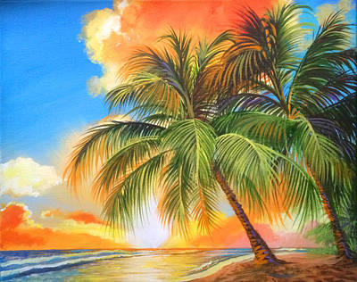 Florida Palm Sunset Original by Robert Korhonen