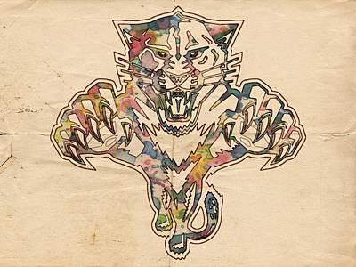 Hockey Painting - Florida Panthers Hockey Poster by Florian Rodarte