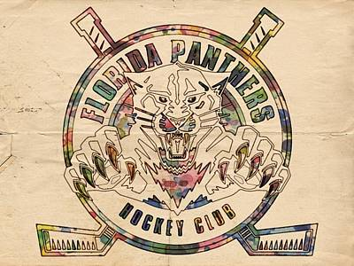 Panther Digital Art - Florida Panthers Vintage Art by Florian Rodarte
