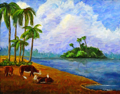 Cattle Egret Painting - Florida Pasture by Kenny Francis