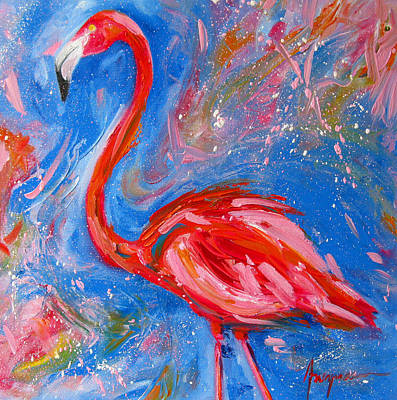 Painting - Florida Pink Flamingo - Modern Impressionist Art by Patricia Awapara
