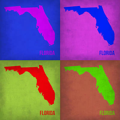 Modern Poster Painting - Florida Pop Art Map 1 by Naxart Studio