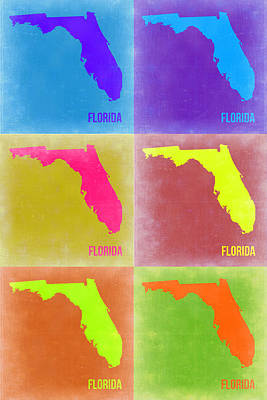 Modern Poster Painting - Florida Pop Art Map 2 by Naxart Studio