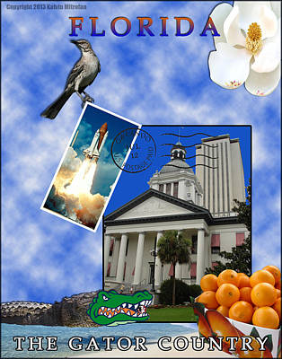 Capitol Building Digital Art - Florida Post Card by Kalvin Mitrofan