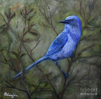 Scrub Jay Painting - Florida Scrub Jay by Mike McCaughin