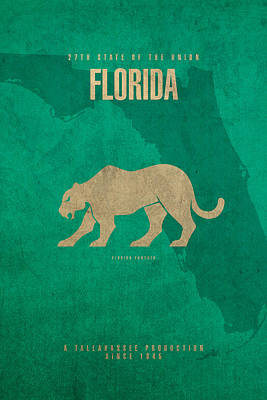 Florida State Mixed Media - Florida State Facts Minimalist Movie Poster Art  by Design Turnpike