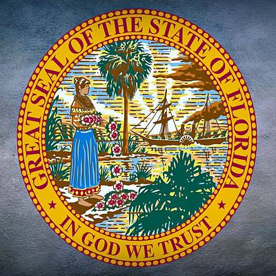 Sun Rays Digital Art - Florida State Seal by Movie Poster Prints