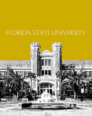 Dorm Room Decor Digital Art - Florida State University - Gold by DB Artist