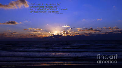 Florida Sunset Beyond The Ocean  - Quote Art Print