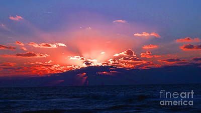Light Blue Photograph - Florida Sunset Beyond The Ocean by Gena Weiser