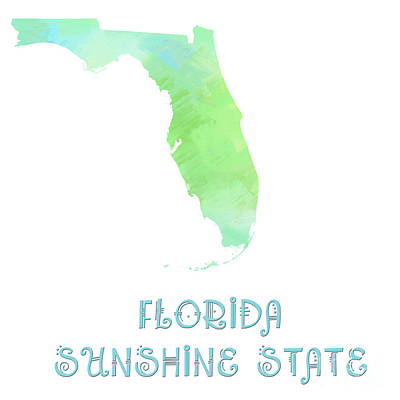 Florida - Sunshine State - Map - State Phrase - Geology Art Print by Andee Design
